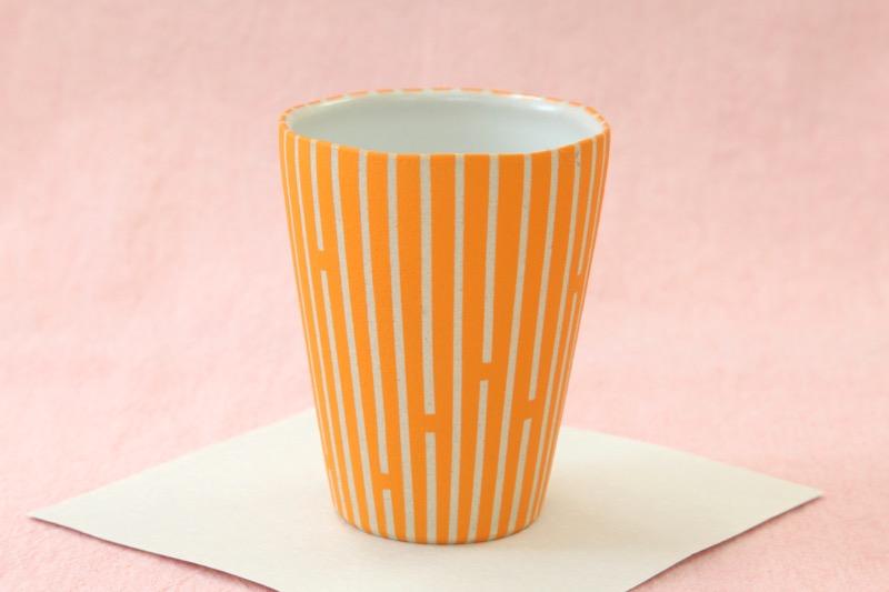 萩焼フリーカップ 時松泰礼 ストライプオレンジ01