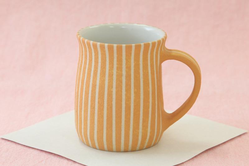 萩焼マグカップ 時松泰礼 ストライプオレンジ01
