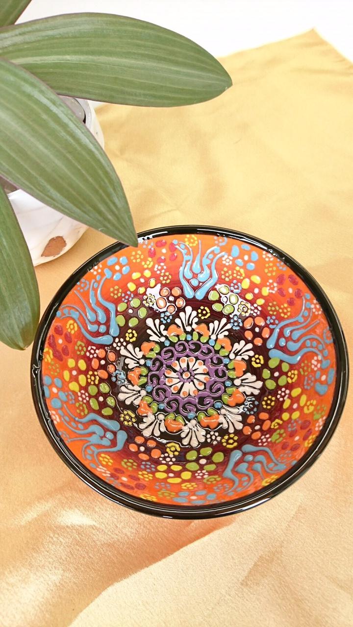 トルコ陶器 【オレンジ 大】