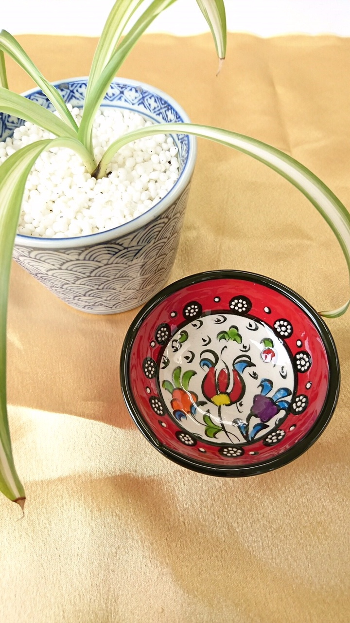 トルコ陶器 【赤 花】