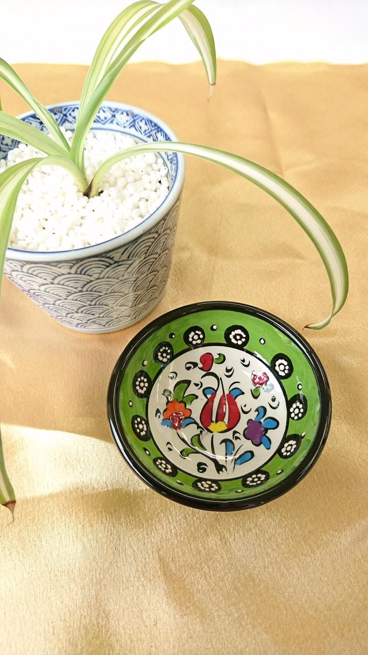 トルコ陶器 【緑 花】