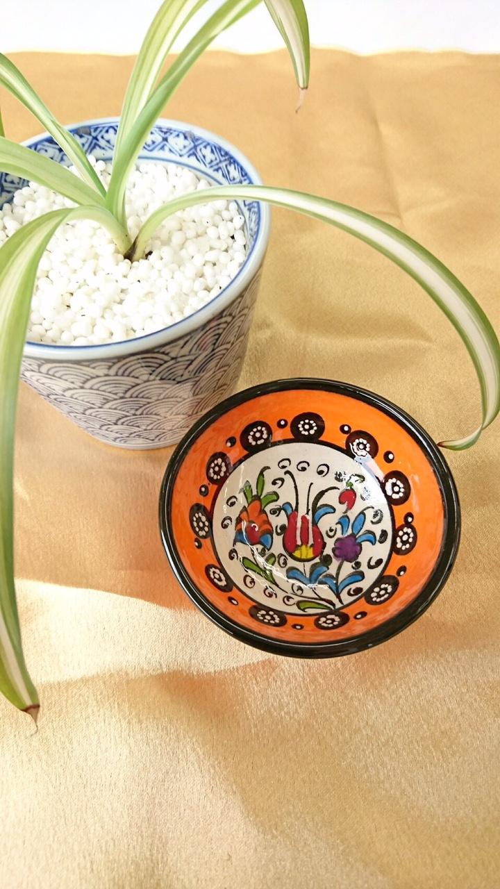トルコ陶器 【オレンジ 花】01